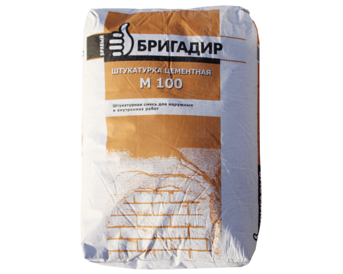 Штукатурка цементная БРАВЫЙ БРИГАДИР М-100 25кг (1пал/48шт)