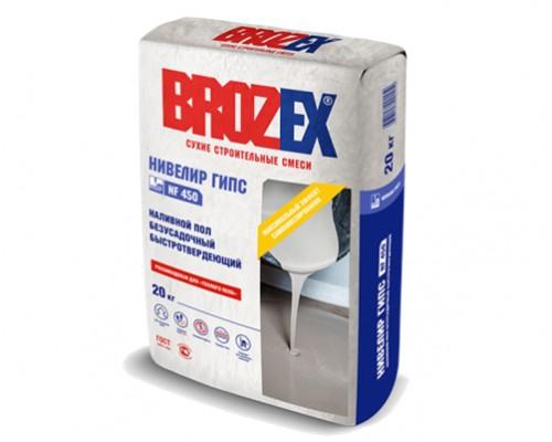 Наливной пол Брозекс (Brozex) НИВЕЛИР ГИПС NF-450 безусадочный быстротвердеющий на гипсовой основе, 20 кг (1 пал/56 шт)