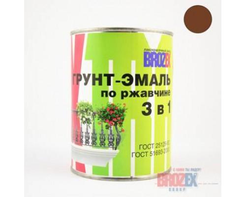 Грунт-эмаль по ржавчине 3 в 1 BROZEX коричневая (2,5л)