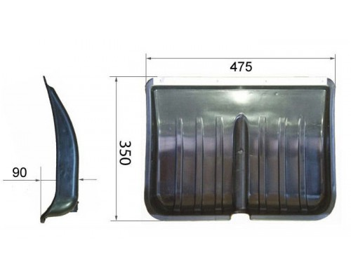 Лопата снегоуборочн. пластик 350х475 с планкой (d=30мм)