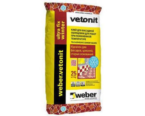 Клей Ветонит Блок для кладки блоков винтер - Weber Vetonit Block Winter, 25 кг (1 пал/48 шт)