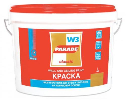 Краска ПАРАД W3 акриловая влагостойкая (10л)