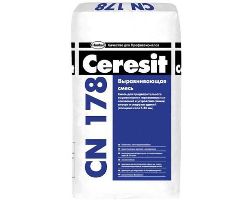 Стяжка для пола Церезит (Ceresit) СN 178 легковыравнивающаяся, 5-80 мм(25кг) (1 пал/48 шт)