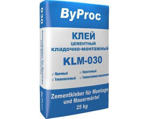 Клей цементный кладочно-монтажный морозостойкий (ByProc) KLM- 030 W (25 кг) (1 пал/48 шт)