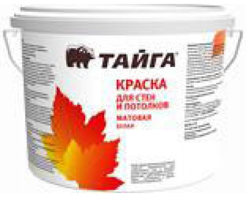 Краска Тайга ВД-АК-2110 для стен и потолков  белая  в/д, 13,5 кг