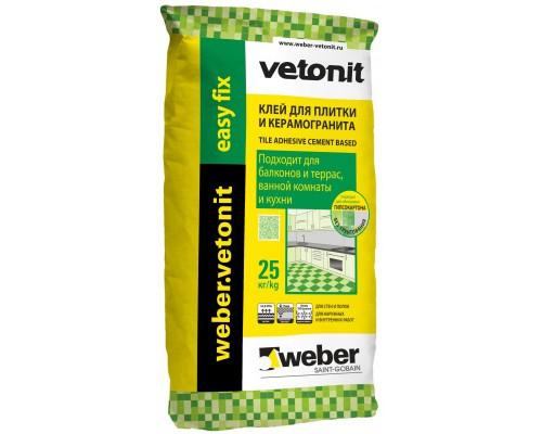 Клей Ветонит Изи Фикс для плитки, 25 кг (1 пал/48 шт)